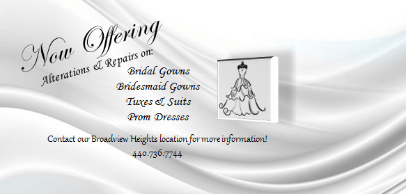 Broadview Heights alterations & repairs on bridal gowns, bridesmaid gowns, tuxes & suits, and prom dresses.